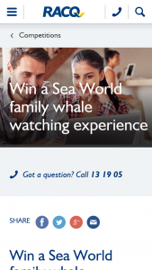 RACQ – Win a VIP Sea World Whale Watching Experience for The Whole Family (prize valued at $356)