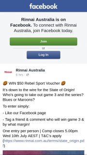 Rinnai – Win $50 Rebel Sport Voucher (prize valued at $50)