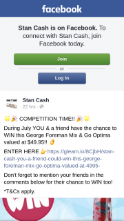 Stan Cash – Win this George Foreman Mix & Go Optima Valued at $49.95