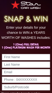 Star Car Wash – Win 1 of 22400 Instant Win Prizes ($5 Off (prize valued at $1,000)