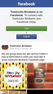 Towtrucks Brisbane – Two Gift Cards for Father's Day at $250.00ea to Enter You Must Like & Share Towtrucks Brisbane Facebook Page