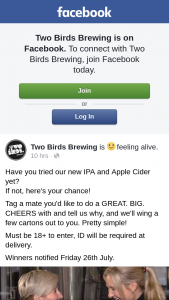 Two Birds Brewing – Notified Friday 26th July
