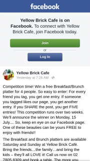 Yellow Brick Cafe – Win a Free Breakfast/brunch Platter for 4 People