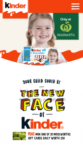 YOUR CHILD COULD BE THE FACE of KINDER CHOCOLATE 2019 PROMOTION – Win The Prize (prize valued at $42,000)