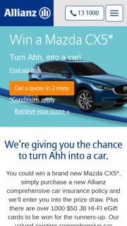 Allianz – Win a Mazda Cx5 Or One of Over 1000 $50 Jb Hi-Fi Egift Cards When You Buy a New Comprehensive Car Insurance Policy From Allianz (prize valued at $54,240)