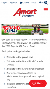 Amart Furniture – Win 1 of 5 Packages for The 2019 Toyota AFL Grand Final (prize valued at $39,107)