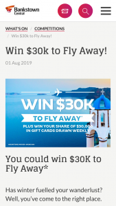 Bankstown Central – Win Your Share of $30000 In Gift Cards (prize valued at $30,000)