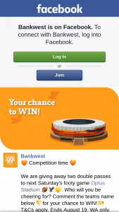 Bankwest – Two Double Passes to Next Saturday's Footy Game Optus Stadium Who Will You Be Cheering For