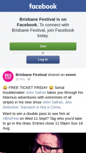 Brisbane Festival – Win a Double Pass to See Him at #brisfest on Wed 11 Sept Tag Who You'd Take to Go In The Draw