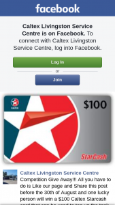 Caltex Livingston Service Centre – Win a $100 Caltex Starcash Card That Can Be Used to Top Up The Tank (prize valued at $100)