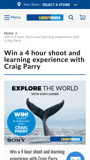 Camera House – Win a 4 Hour Shoot and Learning Experience With Craig Parry