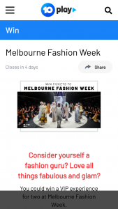 Channel Ten Melbourne fashion week – Win a Prize In this Competition (prize valued at $1,320)