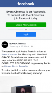 Event Cinemas – Thanks to Warner Music Australia (prize valued at $100)