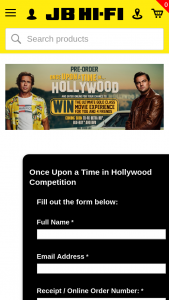 JB HI Pre-order Once Upon a Time In Hollywood to – Win The Ultimate Gold Class Movie Experience (prize valued at $700)