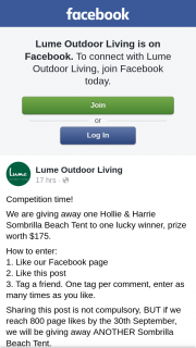 Lume Outdoor Living are giving away one Hollie & Harrie Sombrilla Beach Tent – One Hollie & Harrie Sombrilla Beach Tent to One Lucky (prize valued at $175)