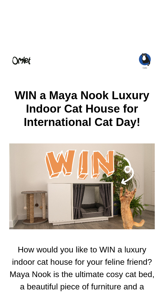 Omlet Win A Maya Nook Luxury Indoor Cat House For Internat Australian Competitions