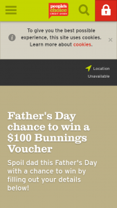 People's Choice Credit Union – Win a $100 Bunnings Voucherfather's Day Competition