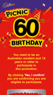 Picnic Turns 60 – $60k Worth of Woolworths Gift Cards (prize valued at $60,000)