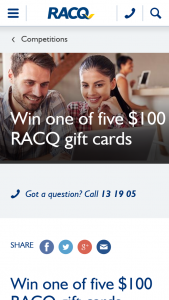 RACQ – Win a $100 Racq Gift Card (prize valued at $500)