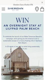 Sheridan – Win a Sustainable Escape on a Luxury Floating Villa In Sydney's Palm Beach (prize valued at $1,350)