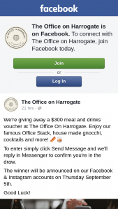 The Office on Harrogate – a $300 Meal and Drinks Voucher at The Office on Harrogate (prize valued at $300)