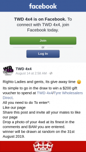 TWD 4×4 – Win a $200 Gift Voucher to Spend at Twd 4×4/tyre Wholesalers Direct (prize valued at $200)