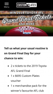VicRoads – Favourite AFL Club (prize valued at $1,395)