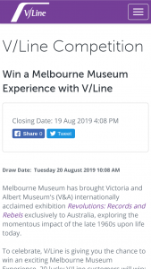 V-Line – Win an Exciting Melbourne Museum Experience (prize valued at $58)
