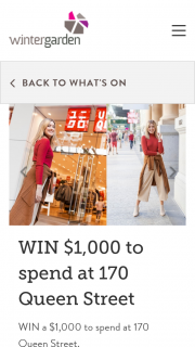 Wintergarden – Win a $1000 to Spend at 170 Queen Street (prize valued at $1,000)