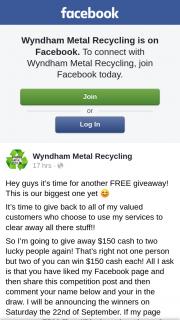 Wyndham Metal Recycling – Win $150 Cash Each