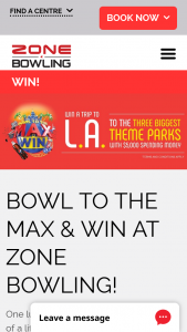 Zone Bowling – Win The Trip of a Lifetime and Fly to La Visiting Disneyland (prize valued at $38,995)