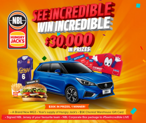 National Basketball League – Win a 2019 MG3 Excite, Hungry Jack voucher for a year, a $10,000 Chemist Warehouse voucher and more