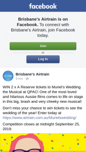 Brisbane's Airtrain – Win 2 X a Reserve Tickets to Muriel's Wedding The Musical at Qpac