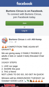 Burtons Circus – 2 Family Passes (2 Adults 2 Kids Or 1adult 3 Kids) Elevated Chair Section