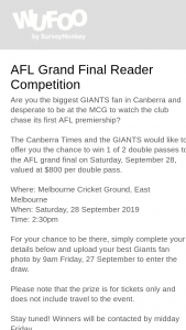 Canberra Times – Win 1 of 2 Double Passes to The AFL Grand Final on Saturday (prize valued at $800)