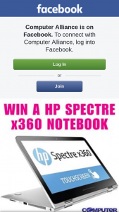 Computer Alliance – Win a Hp Spectre X360 Notebook Valued at $1899 (prize valued at $1,899)