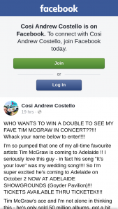 Cosi Andrew Costello – Win a Double to See My Fave Tim Mcgraw Who Wants to See Tim Mcgraw In Concert?