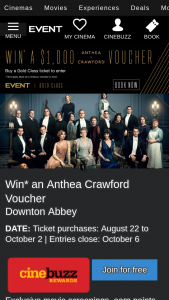 Event Cinemas – Win an Anthea Crawford Voucher Downton Abbey