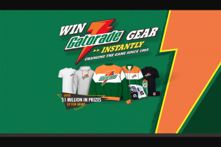Gatorade – Win Gatorade Prizes Instantly (prize valued at $1,103,800)