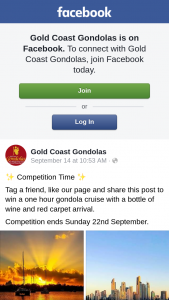 Gold Coast Gondolas – Win a One Hour Gondola Cruise With a Bottle of Wine and Red Carpet Arrival