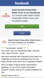 Grand Chancellor Palm Cove – Win a 5 Night Tropical North Queensland Getaway (prize valued at $1)