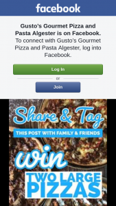 Gusto's Gourmet Pizza & Pasta – Win a Voucher for 2 Large Pizzas