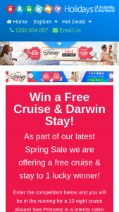 Holidays of Australia and the World – Win a Free Cruise & Darwin Stay (prize valued at $4,638)