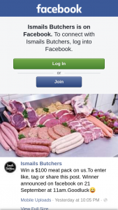 Ismails Butchers – Win a $100 Meat Pack on Usto Enter Like (prize valued at $100)