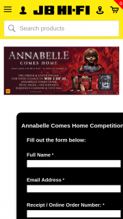 JB HiFi Pre-order Annabelle Comes Home for chance to – Win 1 of 30 Prize Packs Including Sequined Cushion & Tote Bag (prize valued at $600)
