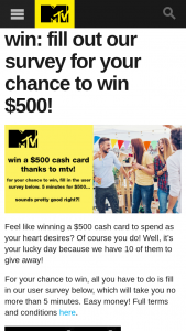 MTV – Win The Following Prize (prize valued at $5,000)