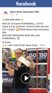 News Extra Alexandra Hills – Win an 18 Game Powerball Lotto Ticket & 6 $1 Instant Scratchies Black Cat Cash