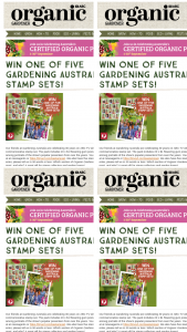 Organic Gardener 1 0f 5 Gardening Australia stamp packs – Win The Following Prizes (prize valued at $100)