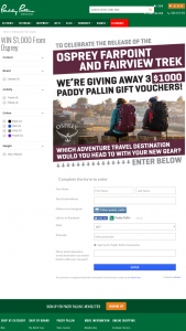 Paddy Pallin – Win Themselves One $1000 Paddy Pallin Gift Card Supplied By Osprey Australia (prize valued at $3,000)