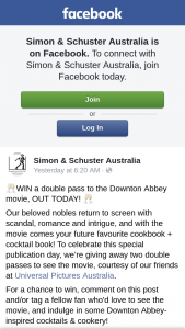 Simon & Schuster – Win a Double Pass to The Downton Abbey Movie